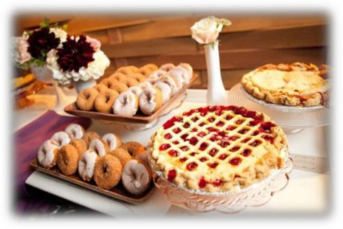 Donuts cakes and wedding cakes