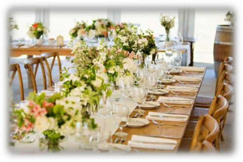 Wedding table with flower decoration